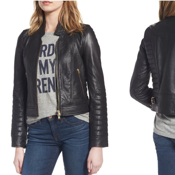 25f9b20bf J. Crew Collection Stand Collar Leather Jacket